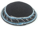 Black Knit Kippot with light blue and white border